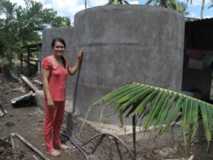 MCNV loan allow her to build water containers to save rain water to prepare for draught and salinity